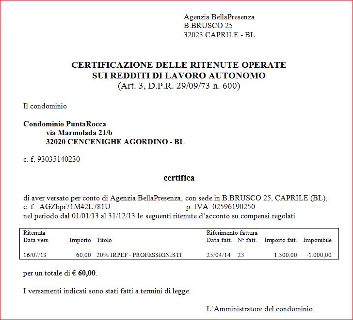Certificazione dei compensi di lavoro autonomo - Modello di scrittura vichingo ...